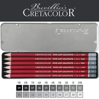 CRETACOLOR FineArt Graphite Stifte-Set, 6er